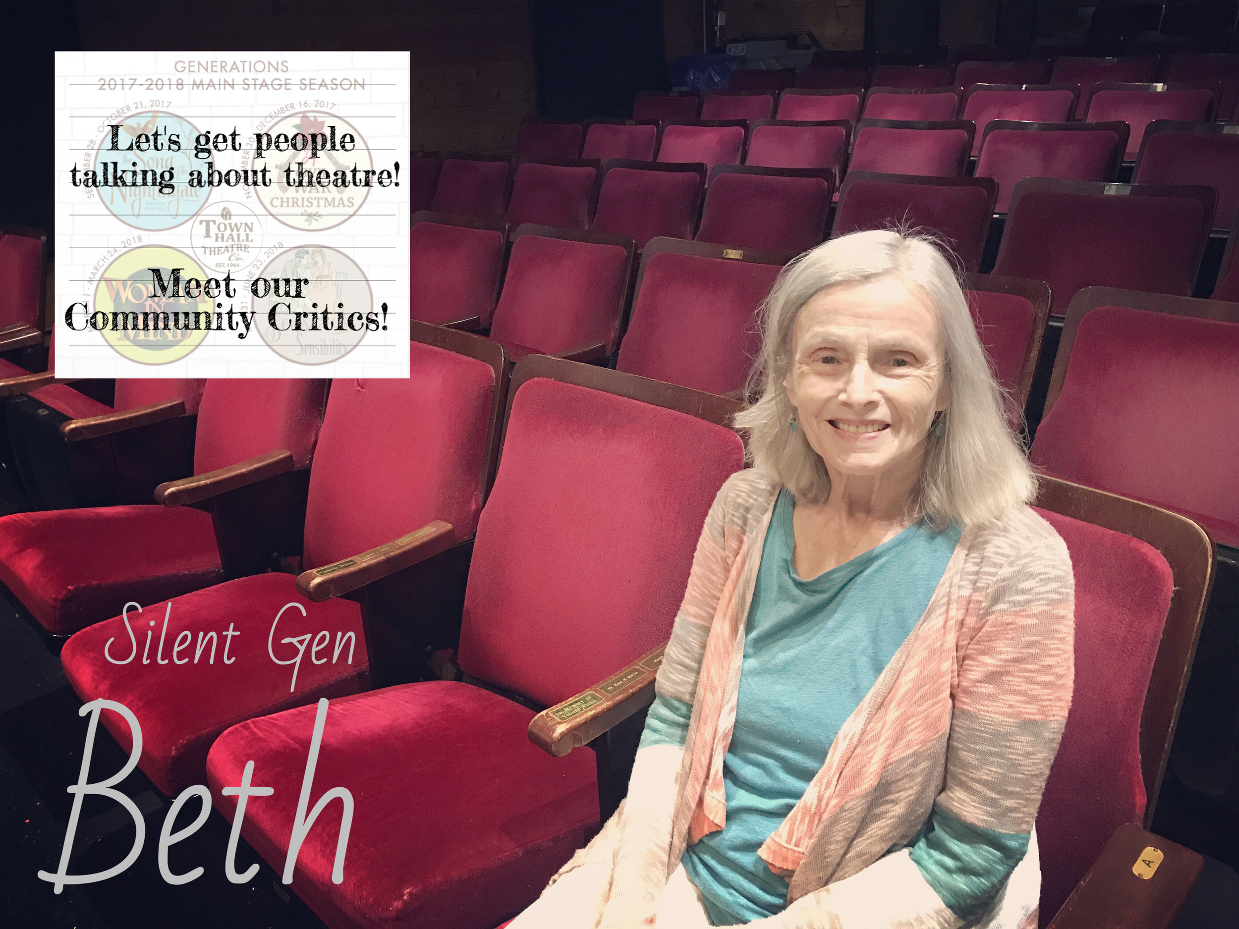 Beth - Bio coming soon!READ WHAT BETH HAS TO SAY ABOUT OUR UPCOMING SEASON!READ WHAT BETH HAS TO SAY ABOUT THE SONG OF THE NIGHTINGALE!READ WHAT BETH HAS TO SAY ABOUT A CIVIL WAR CHRISTMAS!READ WHAT BETH HAS TO SAY ABOUT WOMAN IN MIND!READ WHAT BETH HAS TO SAY ABOUT SENSE AND SENSIBILITY!