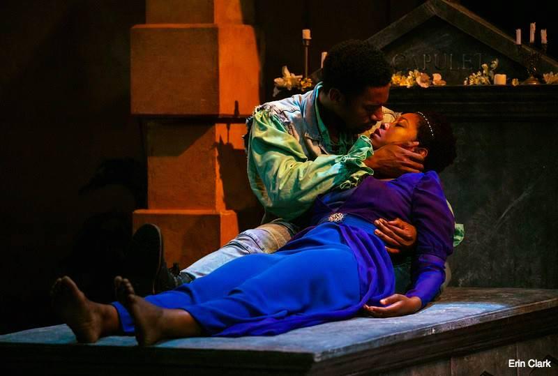 Romeo and Juliet Directed by Dawn Monique Williams:Romeo (Siddiq Saunderson) and Juliet (Adrianna Mitchell) Photo: Erin Clark