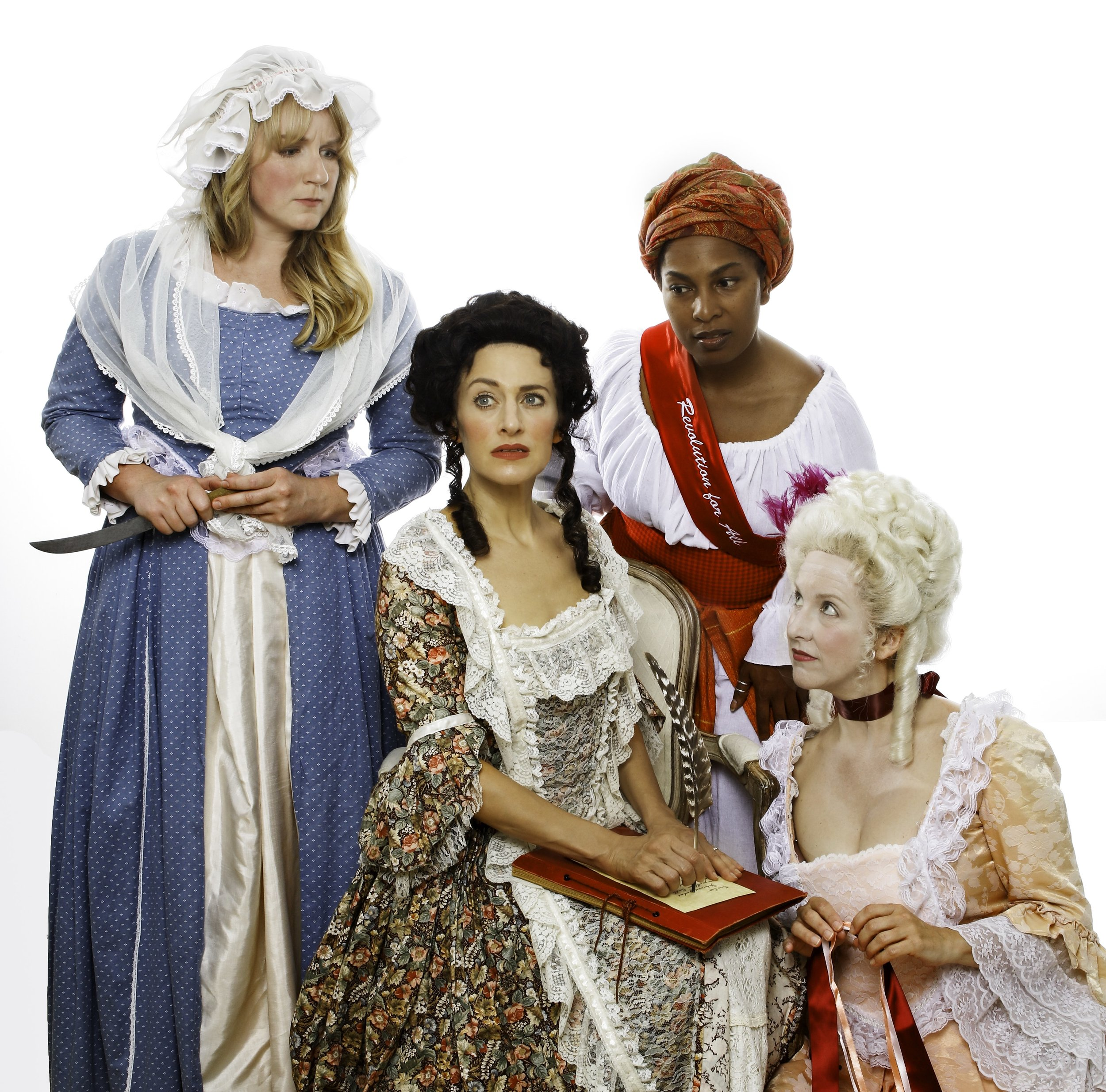 Sarah Mitchell, Kimberly Ridgeway, Heather Kellogg and Suzie Shepard in   THE REVOLUTIONISTS,   Sept. 27 – Oct. 20, 2018, at Town Hall Theatre in Lafayette