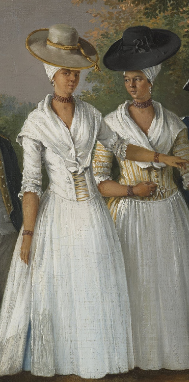 (selection from Free Women of Color with their Children and Servants, oil painting by     Agostino Brunias    ,     Dominica    , c.1764-1796.)