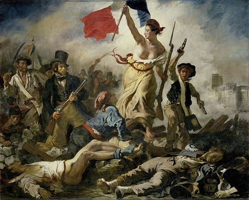 Liberty Leading the People  , 1830, by  Eugène Delacroix , gave rise to the modern French  national personification   Marianne .