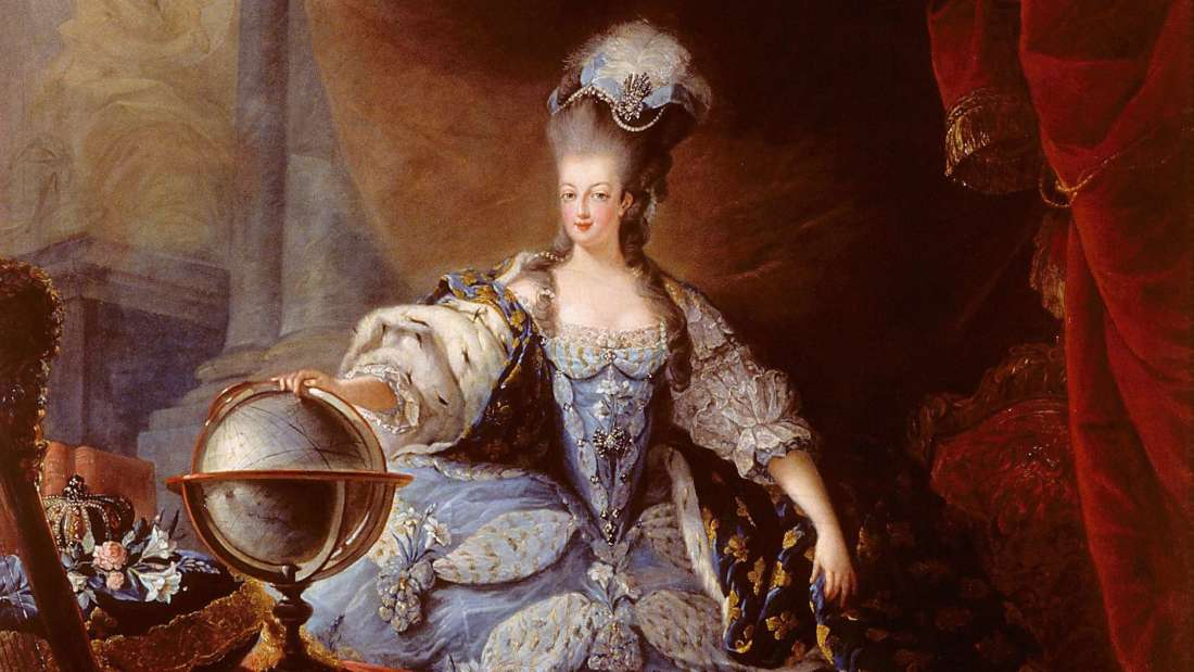 Marie Antoinette, Queen of France,  en grand habit de cour  (by Jean-Baptiste-André Gautier-Dagoty, 1775)