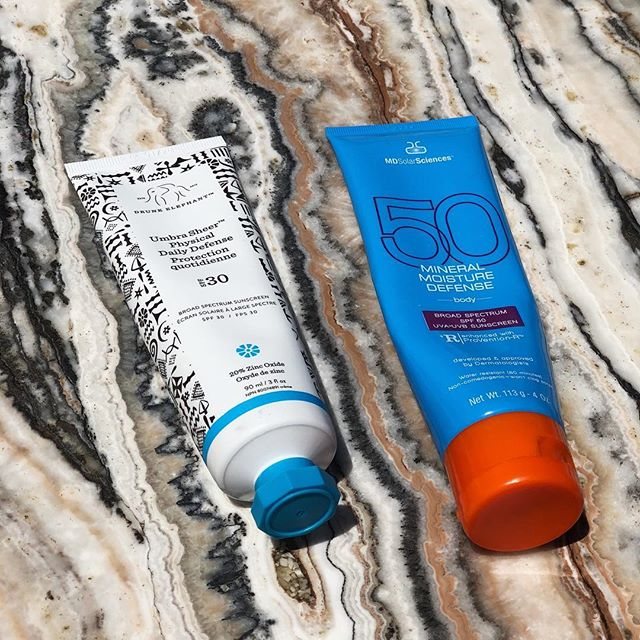 Hello these are my summertime friends. @mdsolarsciences glides on to my bodaaaay like a powder - crazy! And that @drunkelephant sunscreen I purchased after breaking out from 10000 other spfs and now I am loyal 4ever. -R