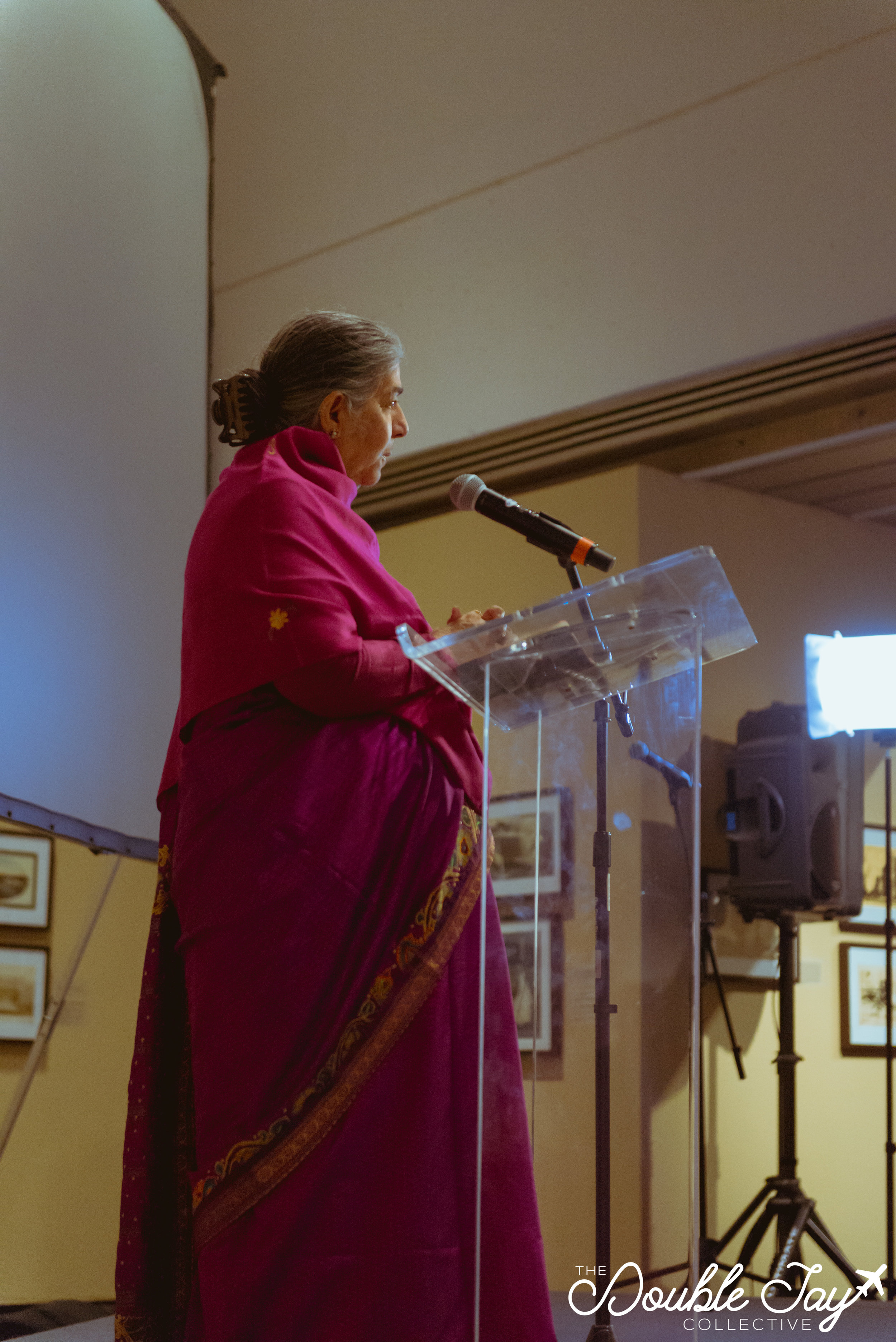 Dr. Vandana Shiva as she gives her keynote speech, Friday night.