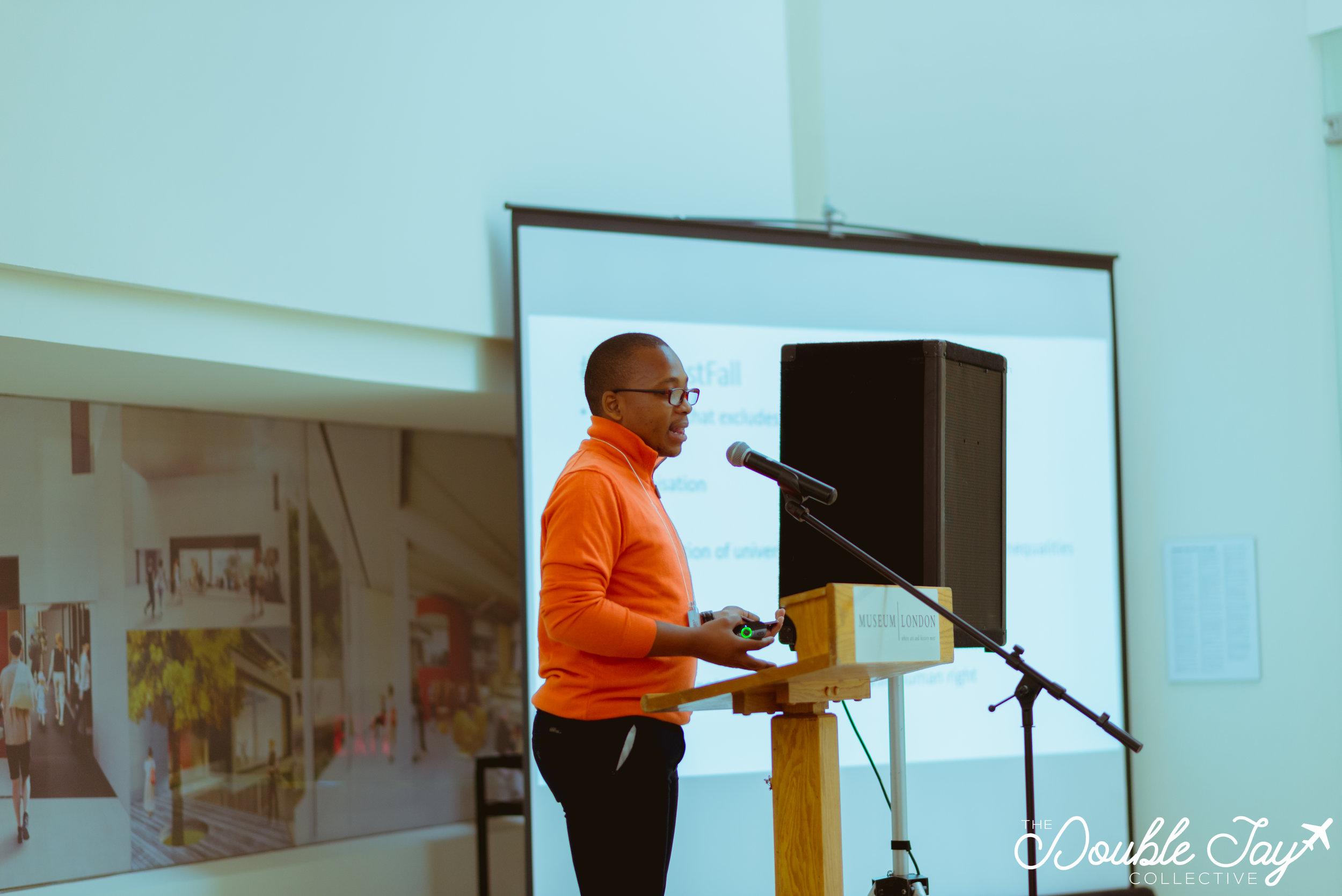 Kgothatso Mokgele,from the University of Johannesburg, as he gave his talk on the #FeesMustFall movement.