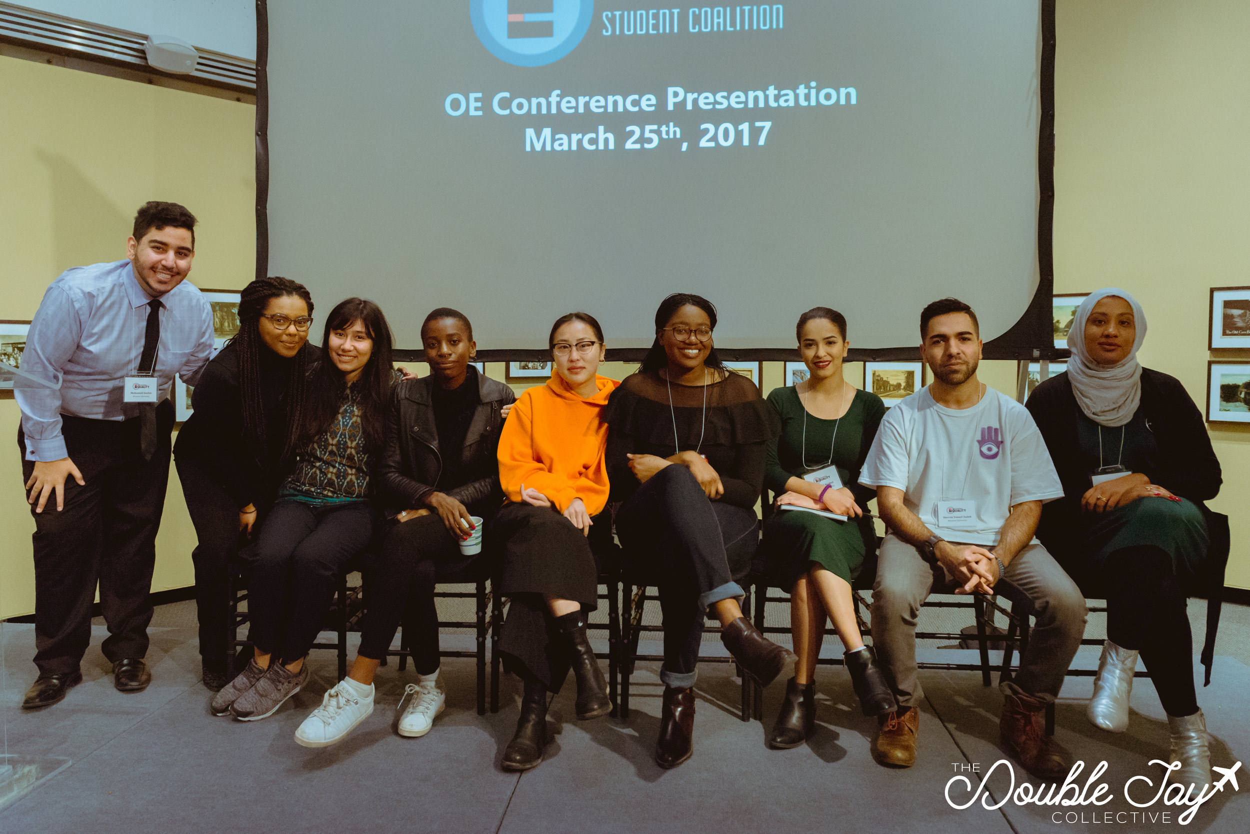 From left to right:Mohammed Soufan, Lily Mehari, Sarah Ghassan, Marie Kamukuny, Nancy Xu, Serwaah Phebih, Shahad Rashid, Shervin Xy, and Rowa Mohamed.