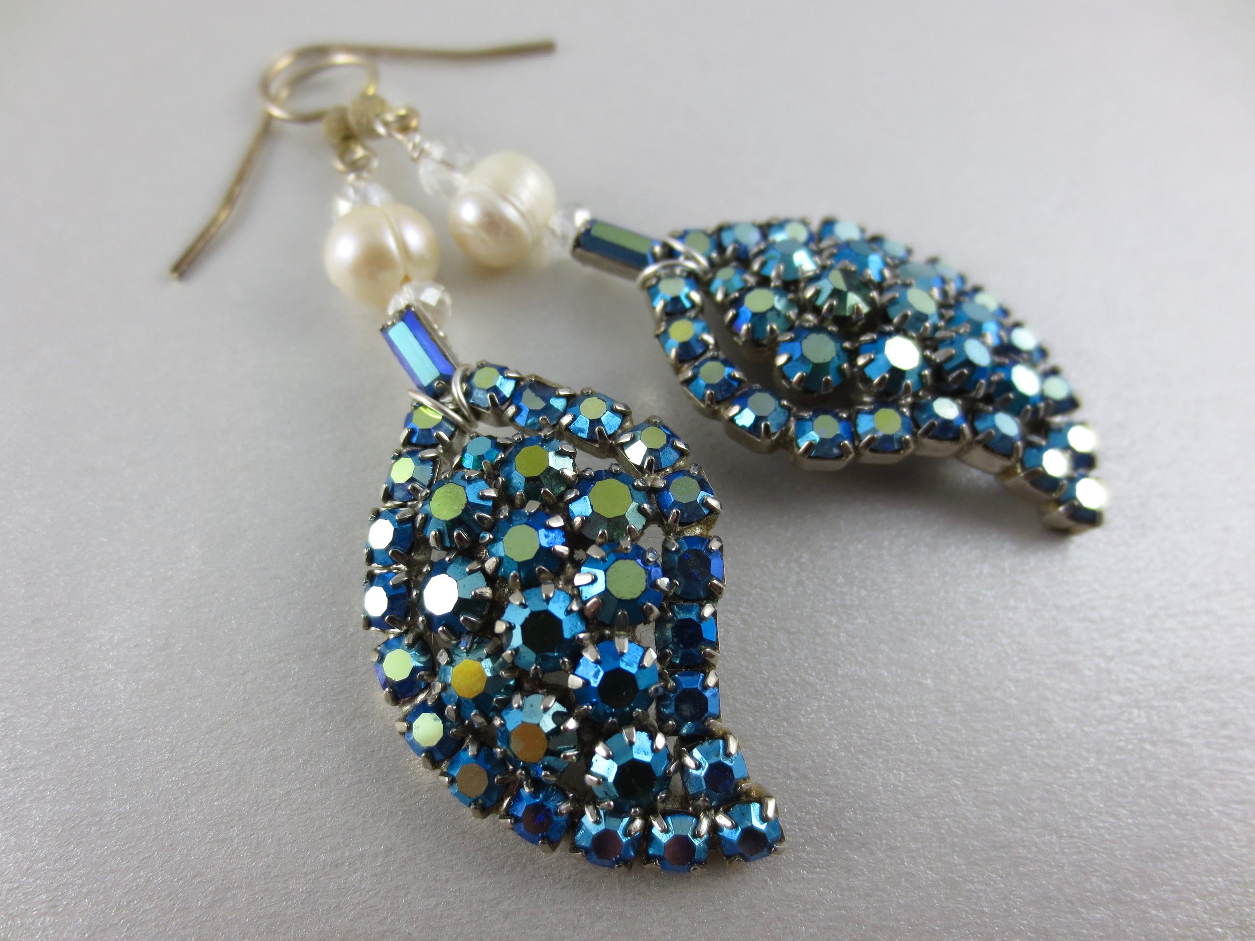 1950s Rhinestone Earrings- Now shined up and updated