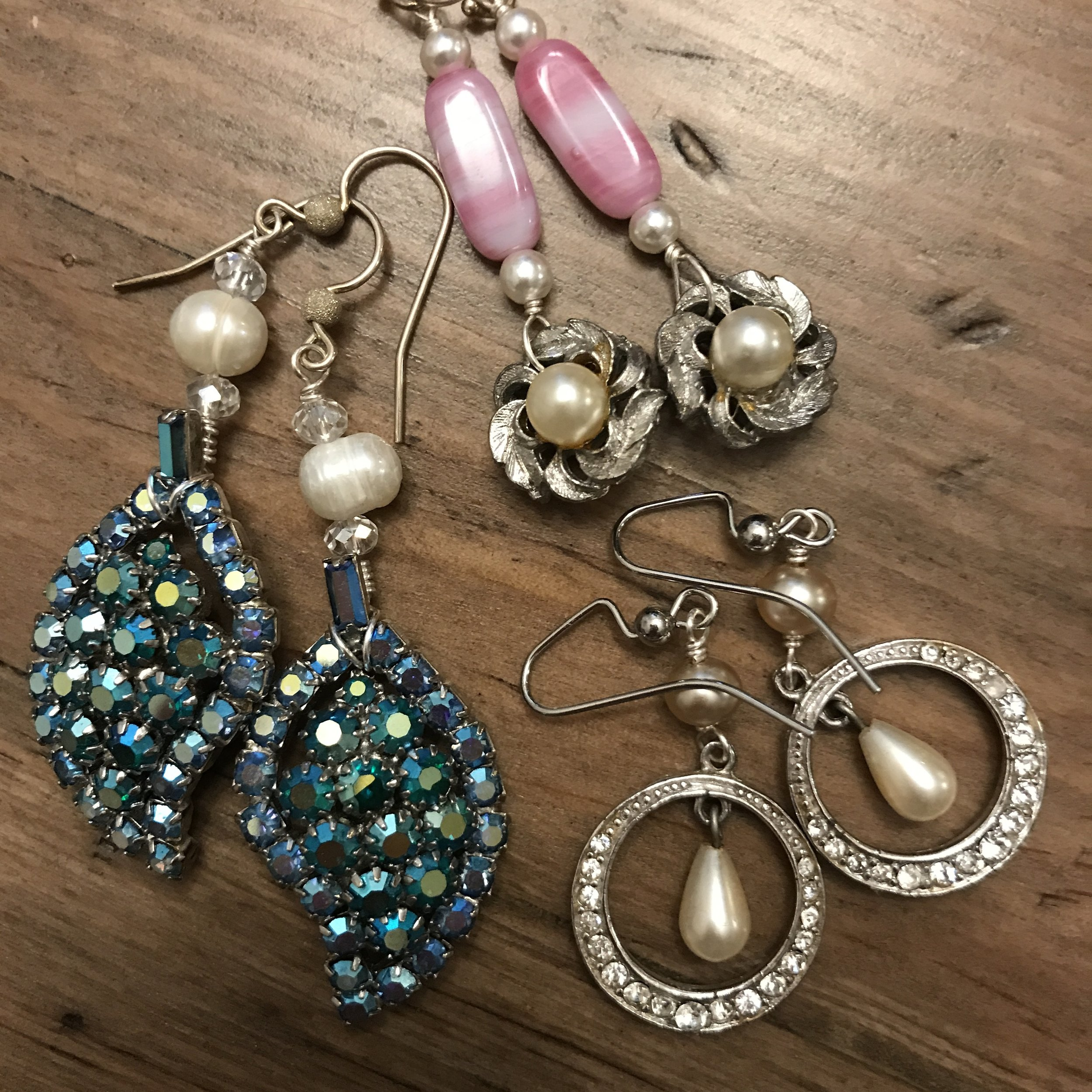 Just a few of the repurposed vintage earrings from the 1940s, 1950s and 1960s that will soon be available at   http://www.ResparkableVintage.etsy.com
