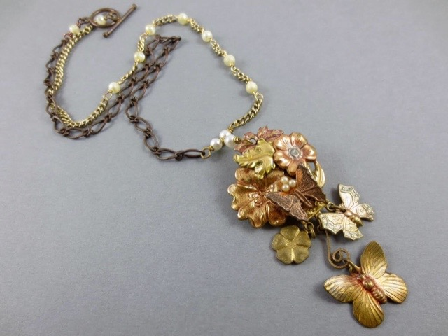 Mixed Metal Butterfly Necklace