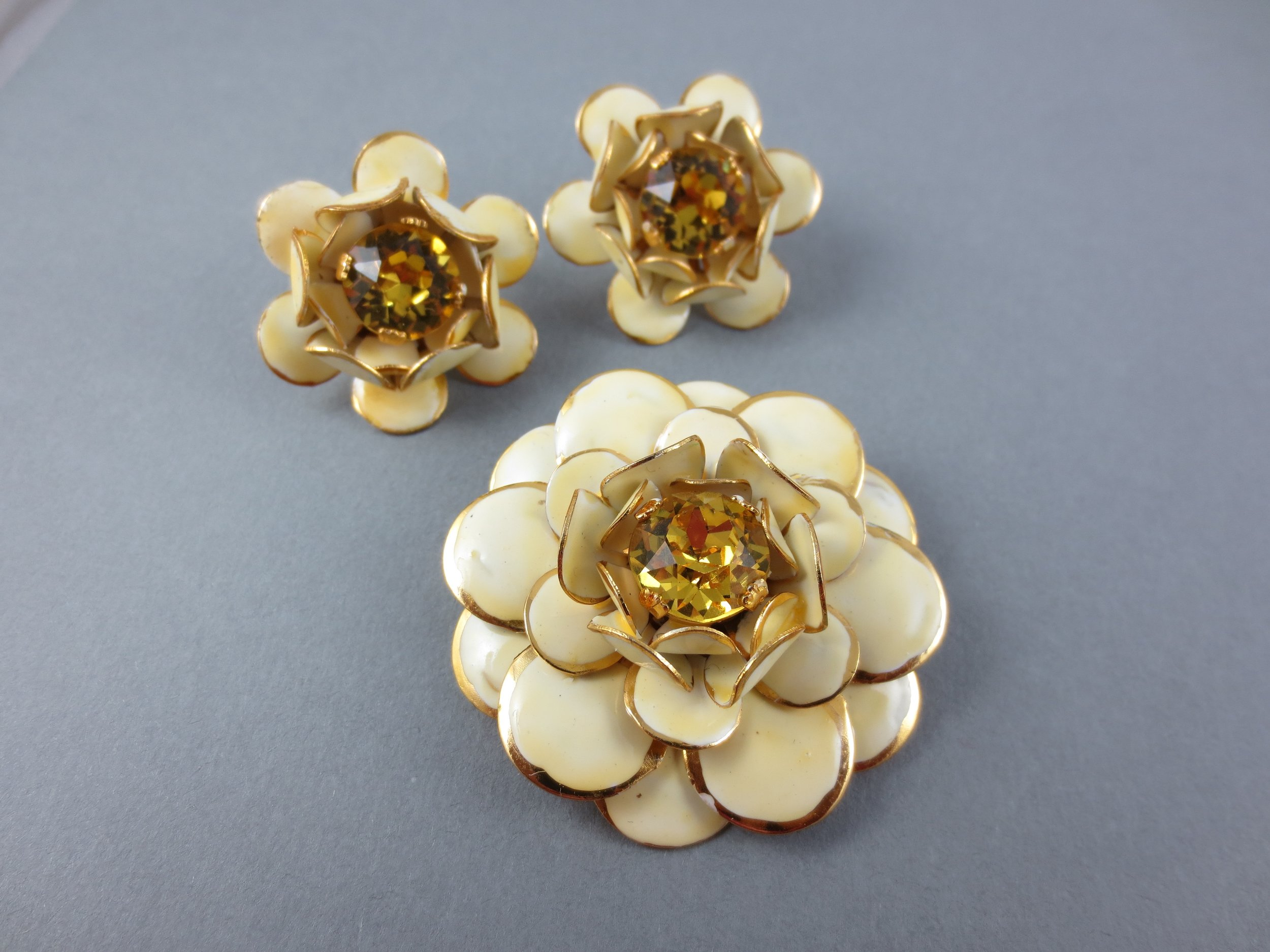 matching enamel flower and earring set