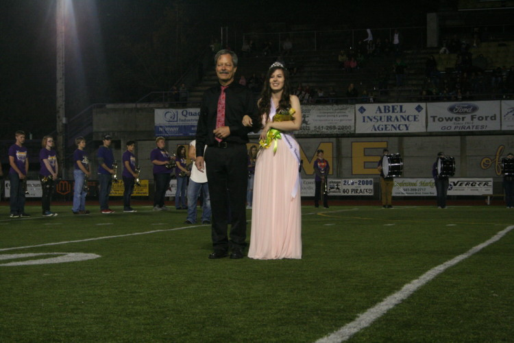 Senior Ireland Gerber was escorted by her father.