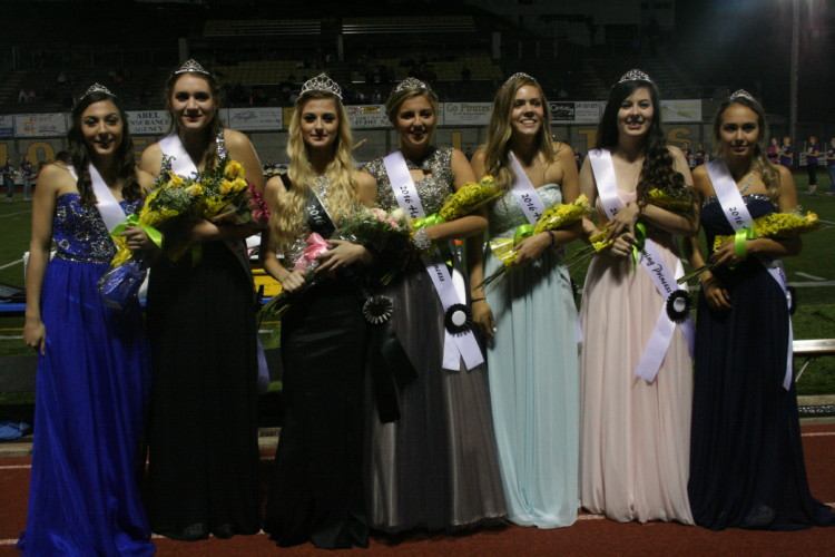 (Left to right) Sophomore Rayven Miranda, junior Bailey Peterson, seniors Taylor Stark, Mackenzie Johnson, Samantha Waldrop and Ireland Gerber, and freshman DJ Johanson.