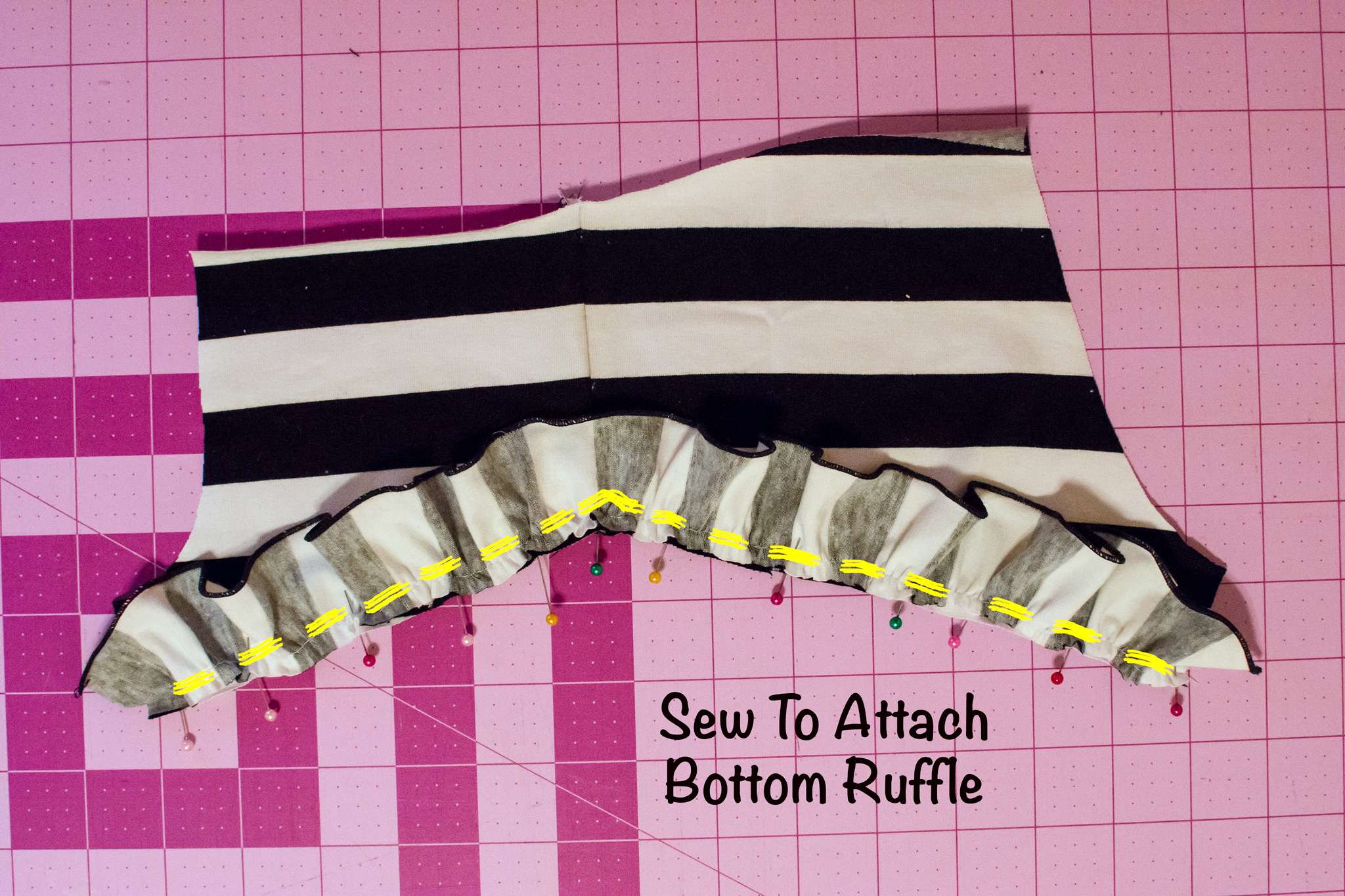 bottom ruffle attach