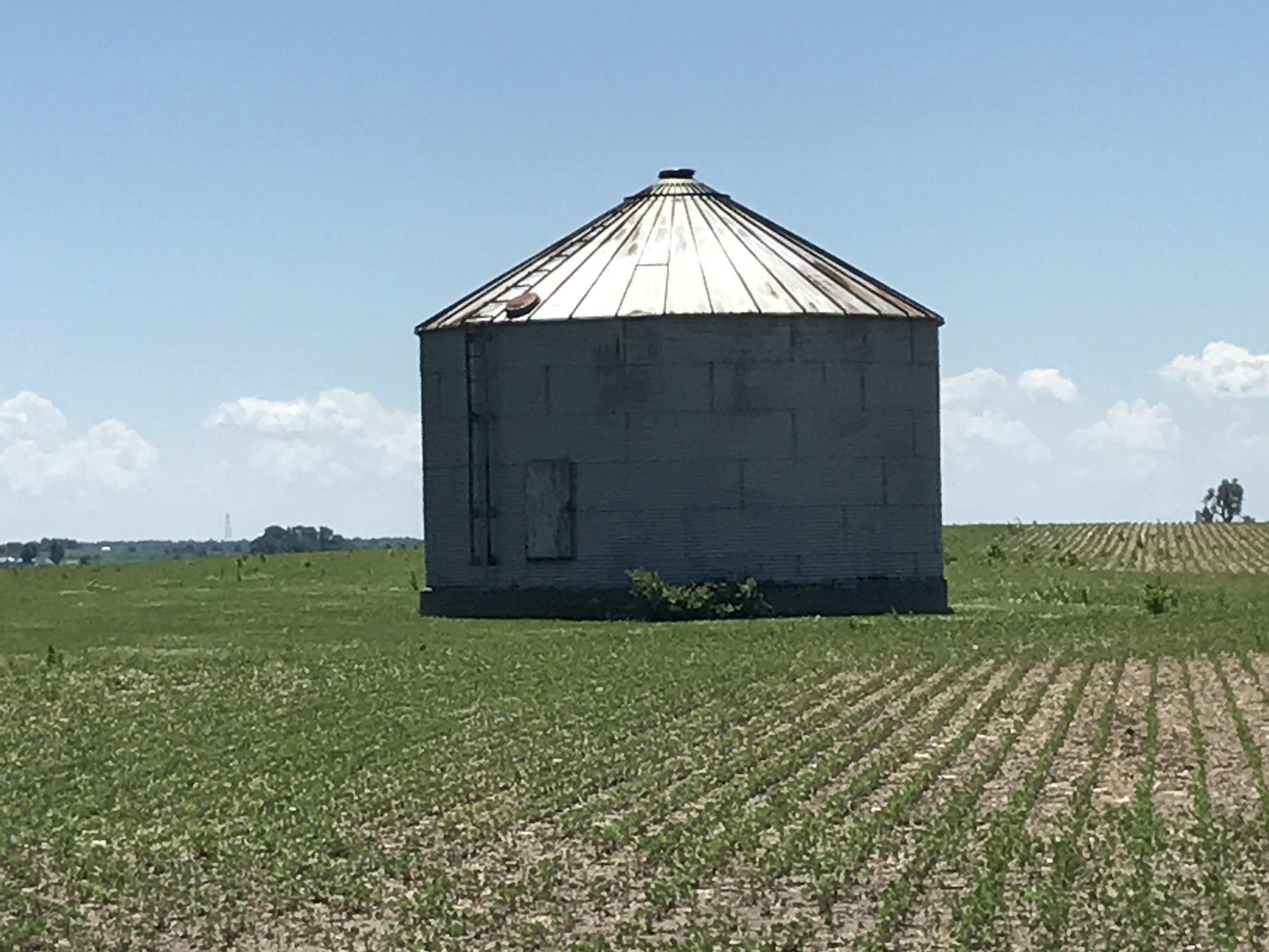 Grain bin on the northeast corner of the property.