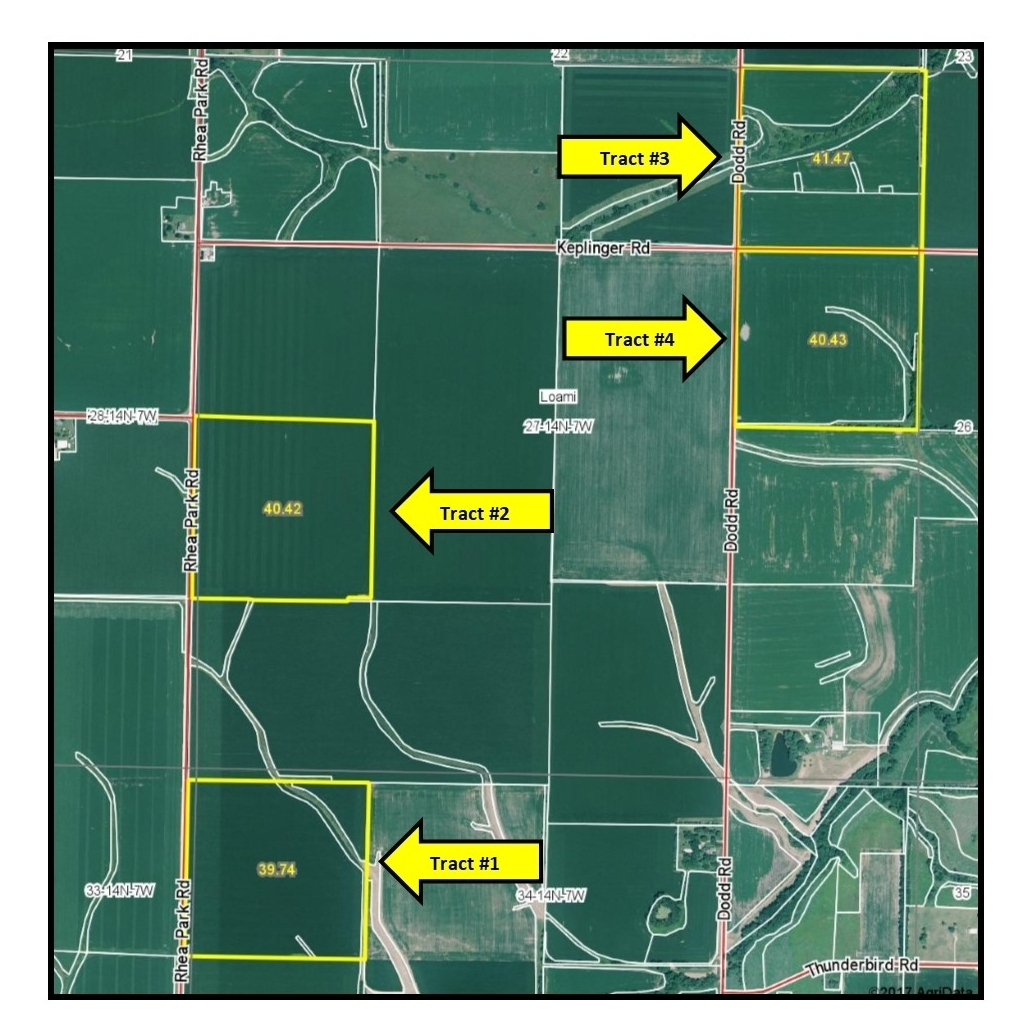 Aerial Map of Berbaum Family Farms.  Loami Township, Sangamon County, IL
