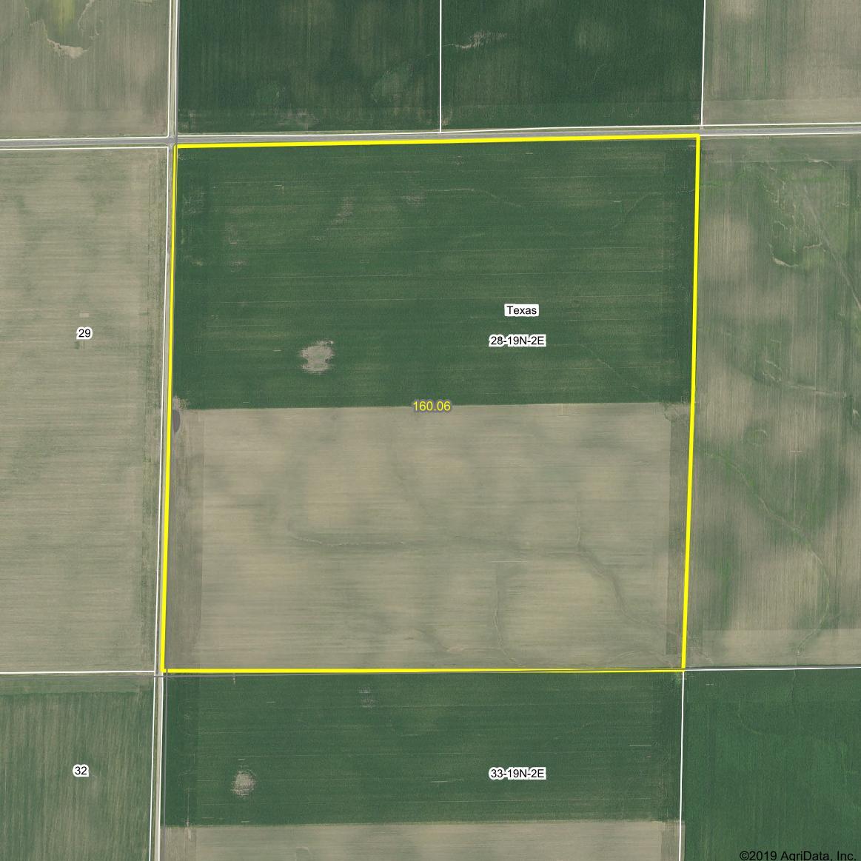 A 2018 aerial photo of the Fern J. Smart Trust farmland.