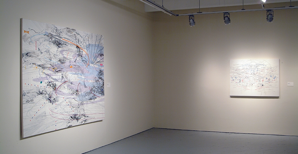 Left: Julie Mehretu, Immanence, 2003 Ink and acrylic on canvas. 72 x 96 inches. Courtesy of the artist. Right: Julie Mehretu, System, 2003, Ink and acrylic on canvas. 36 x 48 inches. Courtesy of the artist