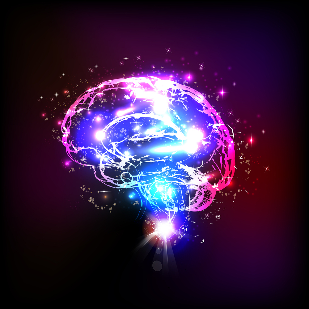 Abstract light human brain, vector illustration
