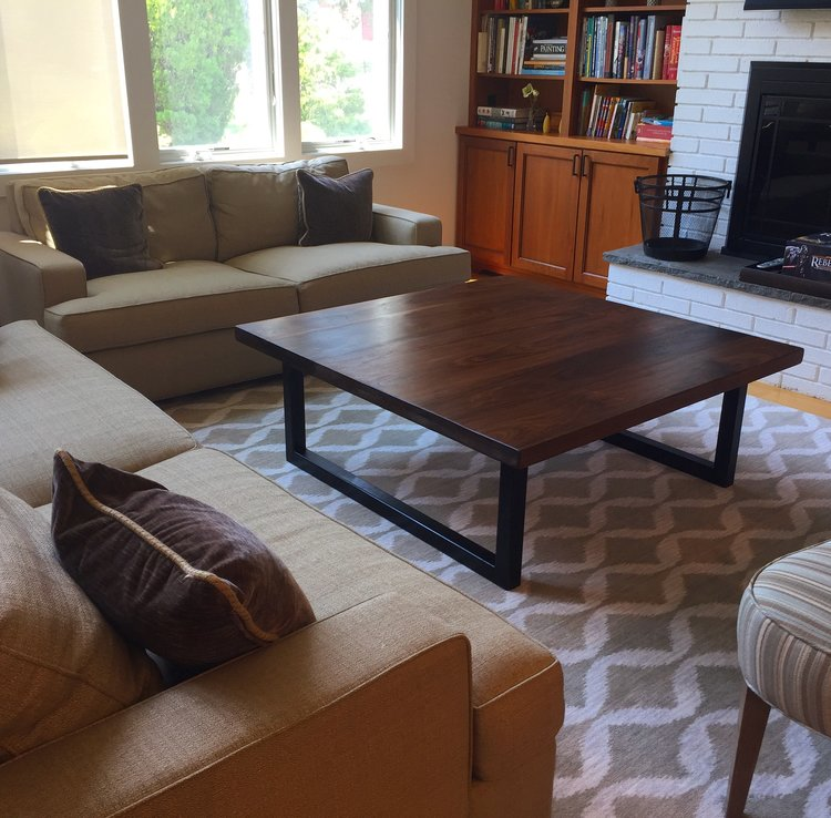 Modern Walnut Square Coffee Table
