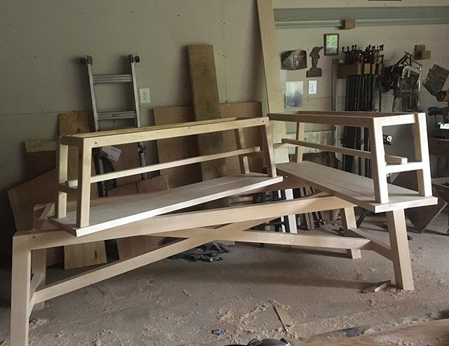Modern bench and table bases ready for black finish. First a few samples for the client.