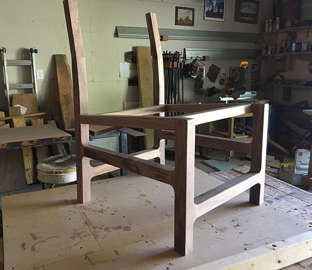 About finished shaping and sanding the frame of this modern walnut lounge chair. I designed this chair, and a few similar prototypes, for some small scale production this fall.