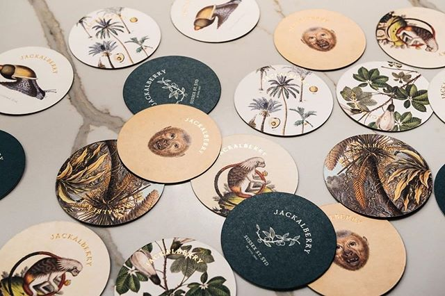 One of our latest projects, in conjunction with our sister company  @theeaterygroup ・・・ The beautiful collection of coasters we were able to make for @Jackalberrysyd with brilliant vintage illustrations and a gold foil. You've gotta love a client that lets you go gold foil!! Photo by @dan.mueller  #Printing #branding #design #graphicdesign #creative #print #illustration #jackalberrysyd #coasters #Brand # #hospitalitydesign #cocktailbar #hyattregencysydney #Sydney #TheEateryGroup  #typography #illustrator #graphic #adobe #graphics