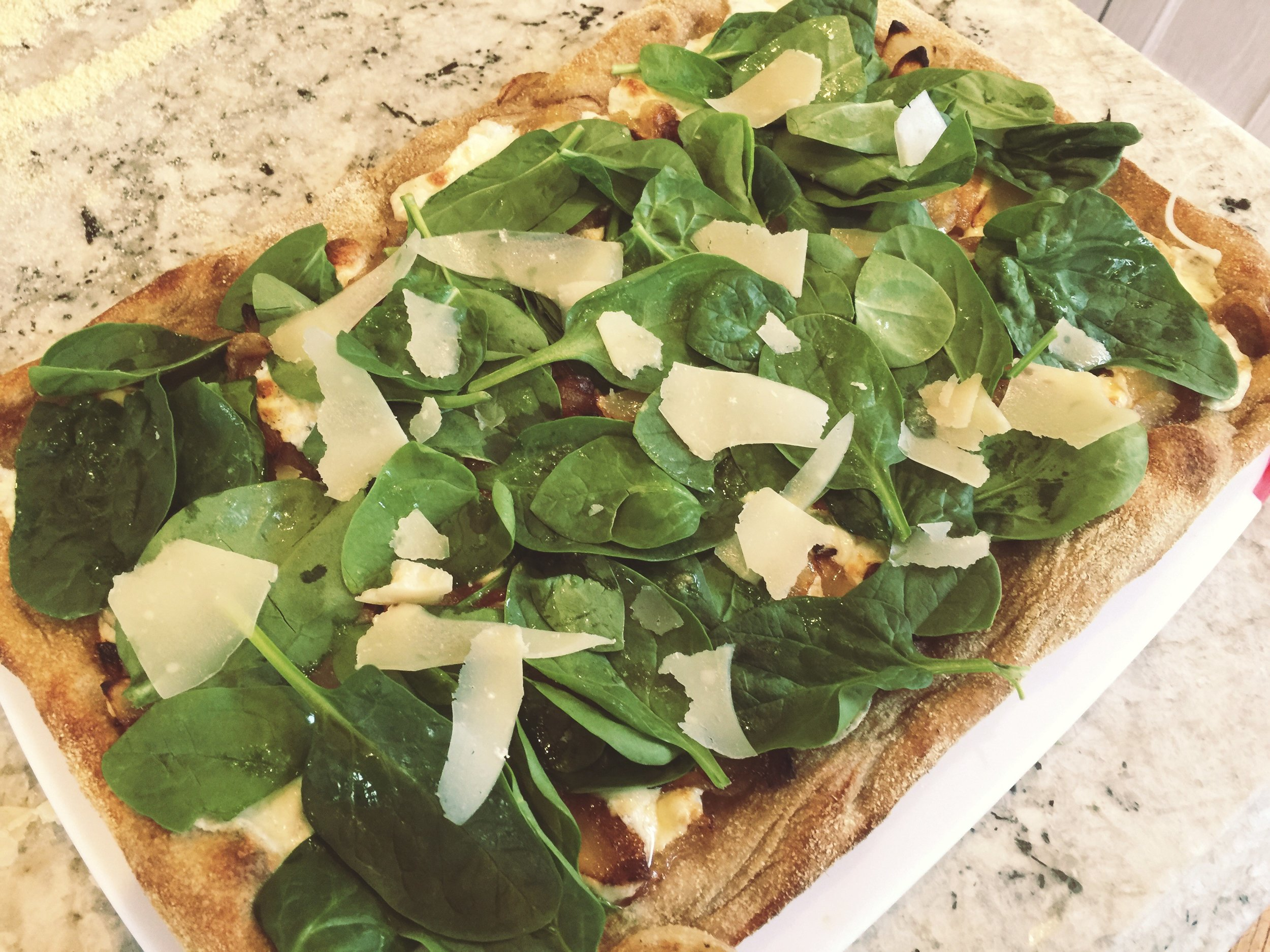 Caramelized Onion, Fresh Spinach and Shaved Parmesan