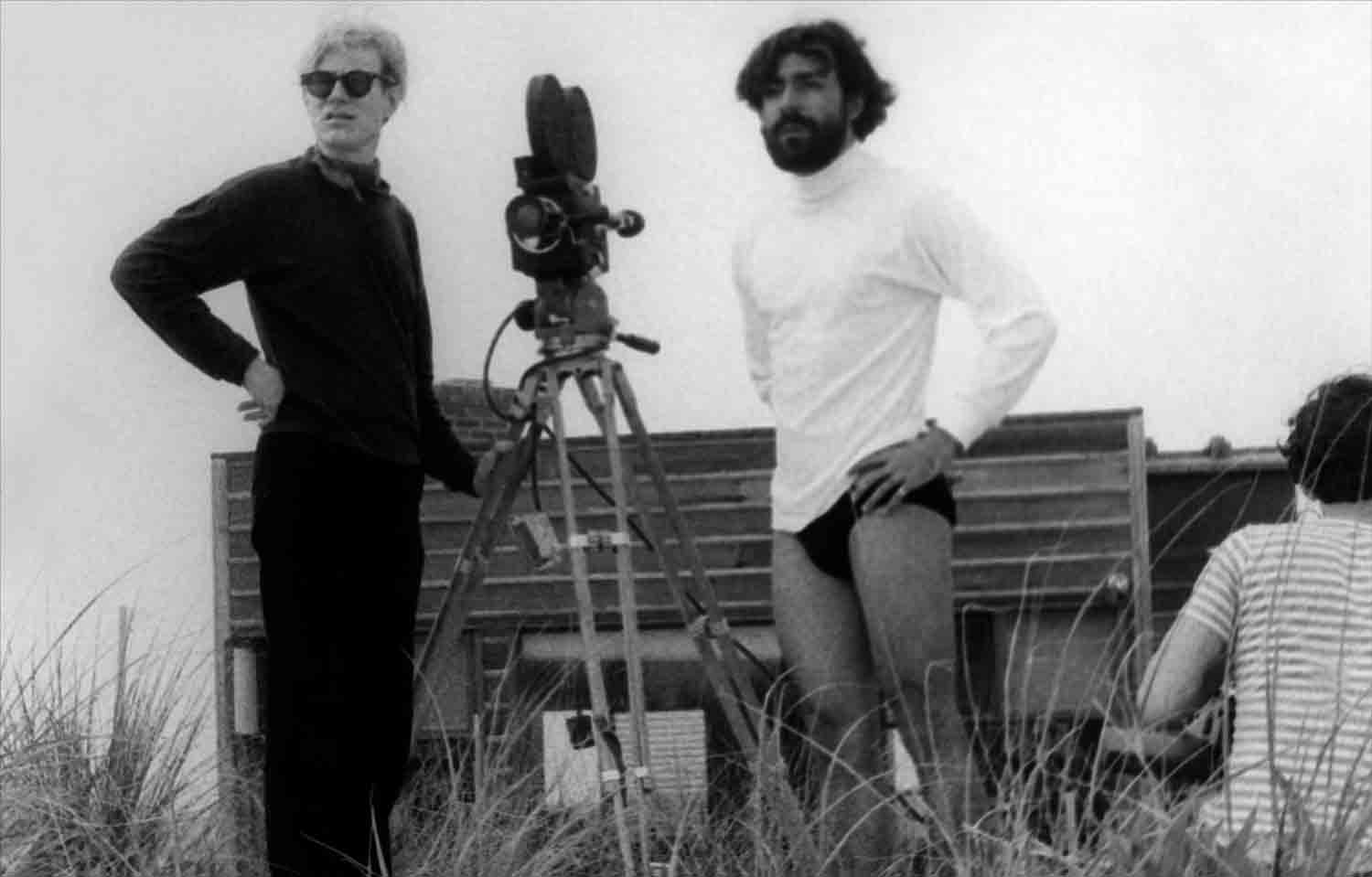 Andy Warhol and Rolando Peña during the filming of ****(Four Stars). Photo by Marcelo Montealegre