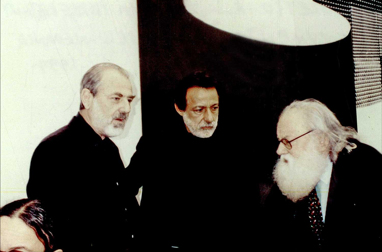 """Documenta X"". Pistoletto, Rolando Peña and Pierre Restany. Kassel, Germany. 1997. Photo by Kitty Holley"
