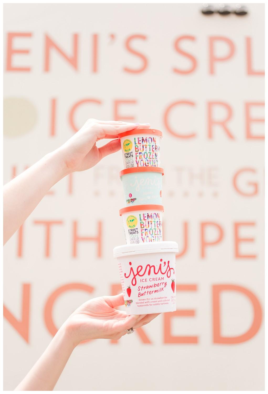 Jeni's Ice Cream Strawberry Buttermilk pint, Lemon Buttermilk Frozen Yogurt, Honey Vanilla Bean Ice Cream