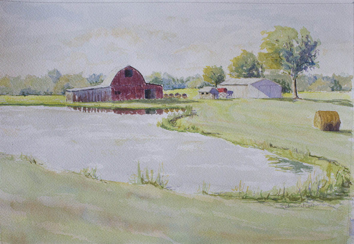 Red Barn and Pond at Freedom