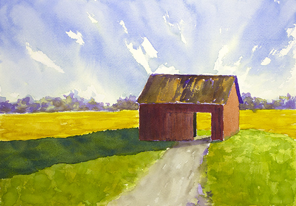 Red barn, Cornfields