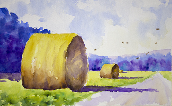 Haybales, Blue Trees, Quail