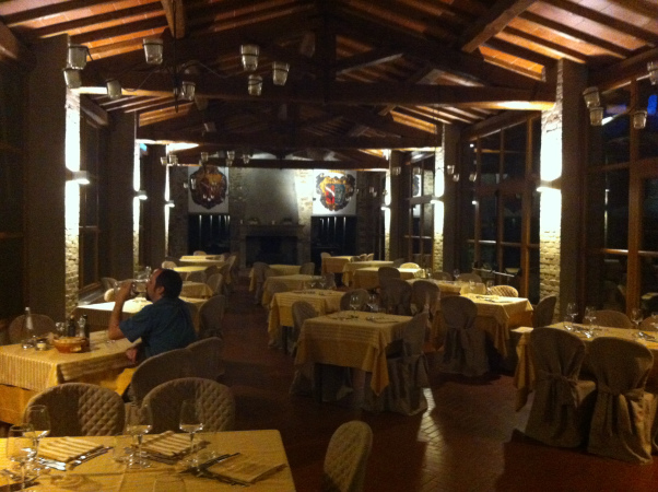 The dining room at Gargonza Castle