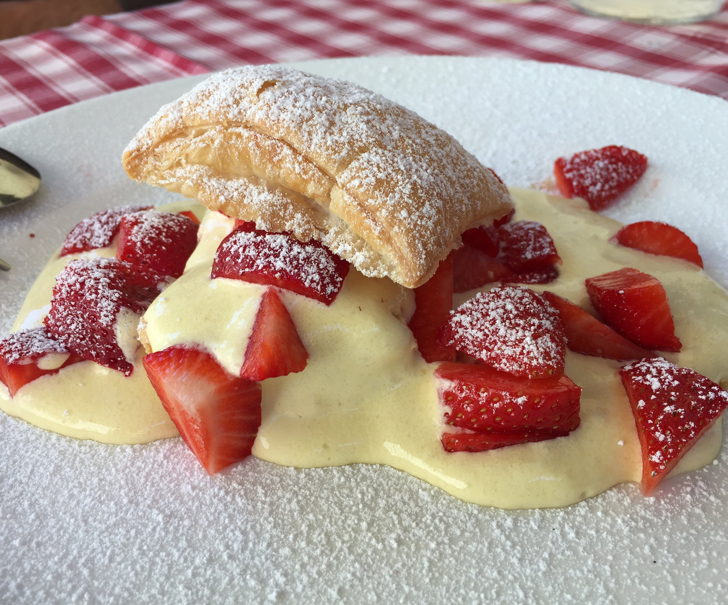 Fresh strawberries and cream with pastry at Due Spade.
