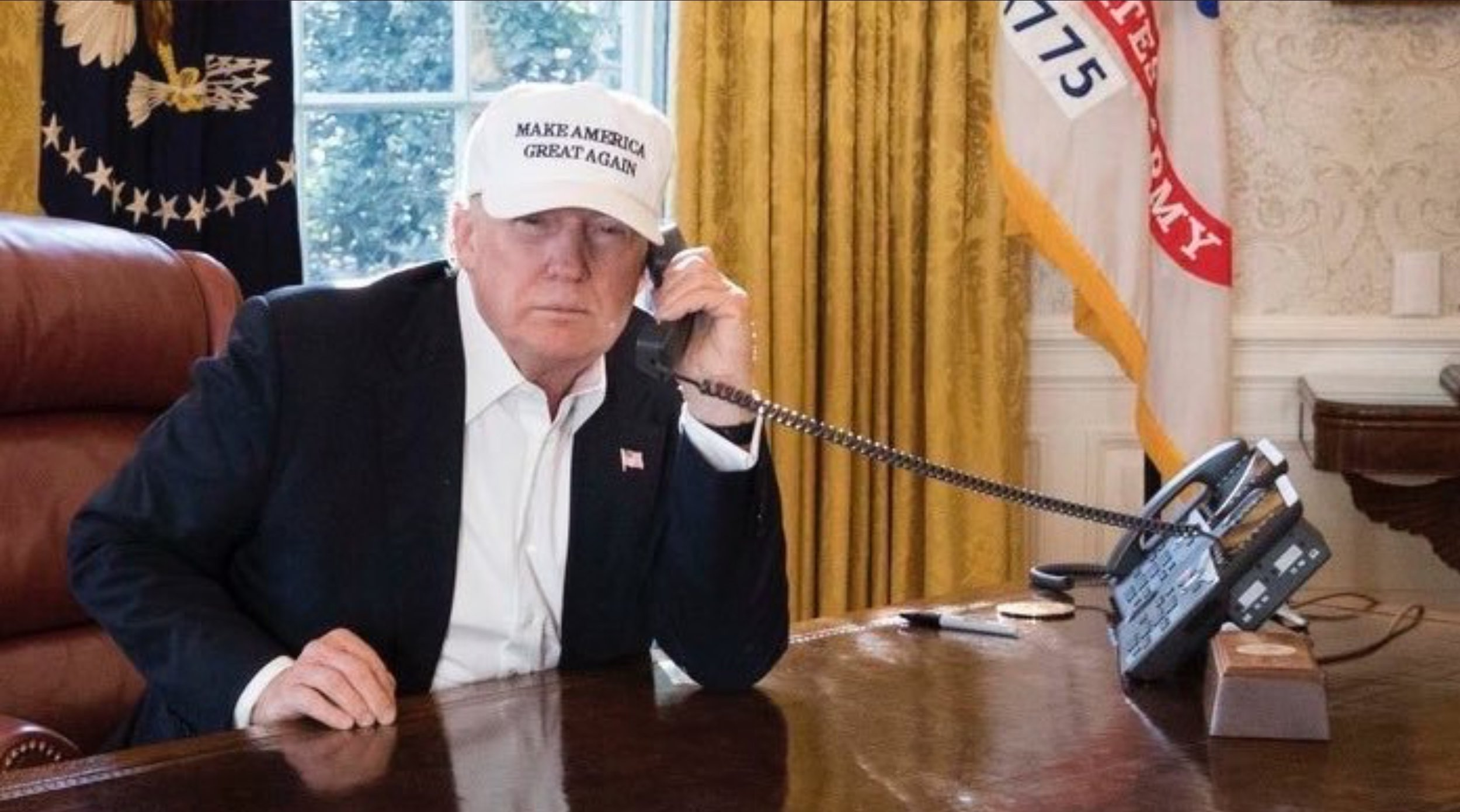 """""""Trump hat red,"""" the President said. """"This hat white."""""""
