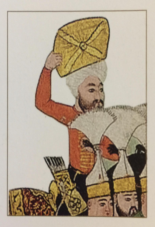 Fig. 1 – Close-up image of a battle scene from an Ottoman manuscript. The man brandishes the Holy Mantle in its reliquary perhaps to channel divine intervention, but more importantly to connect the Ottomans to the Prophet Muhammad. (Source: Hilmi Aydin,  Pavilion of the Sacred Relics: The Sacred Trusts )