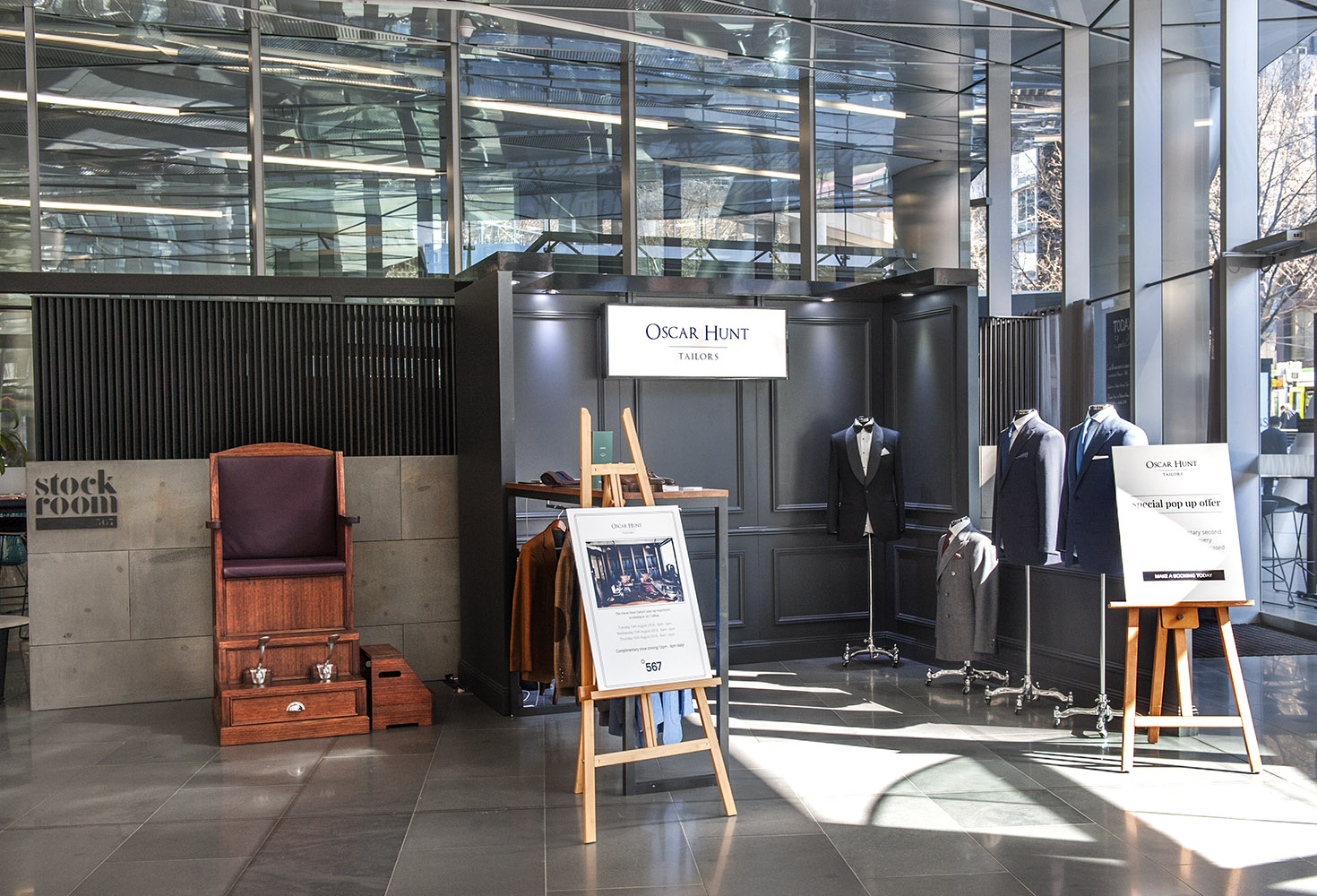 Oscar Hunt Tailors pop-up at 567 Collins Street Melbourne