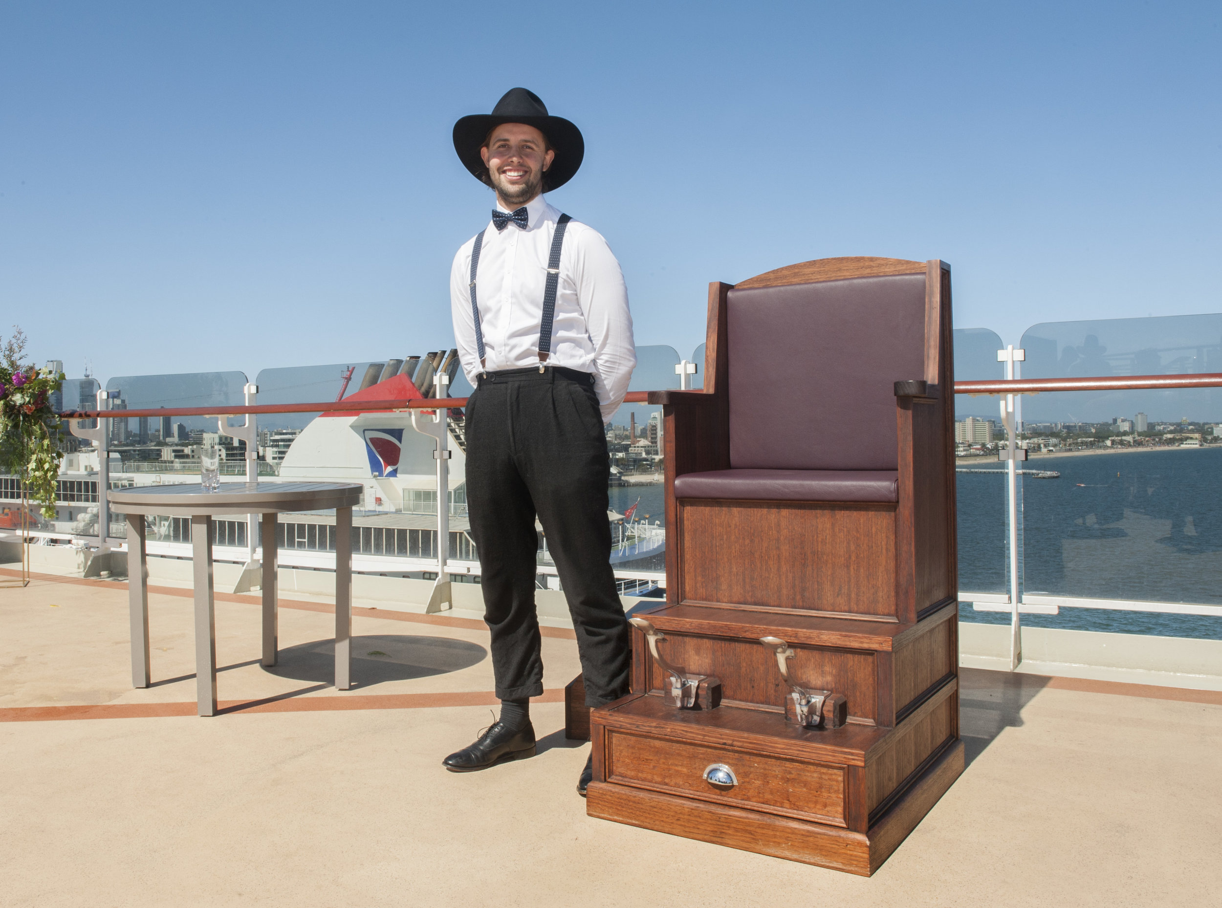 Our expert shoe shiner Billy wears Akubra while working on-board the 'Queen Elizabeth' Ocean Liner