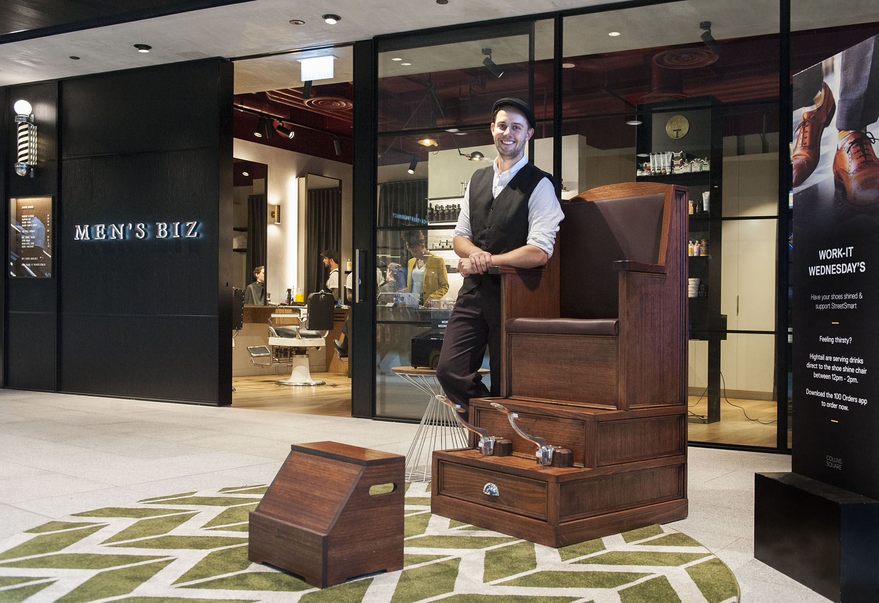 'Work-It Wednesdays' shoeshine activation at Collins Square, Docklands
