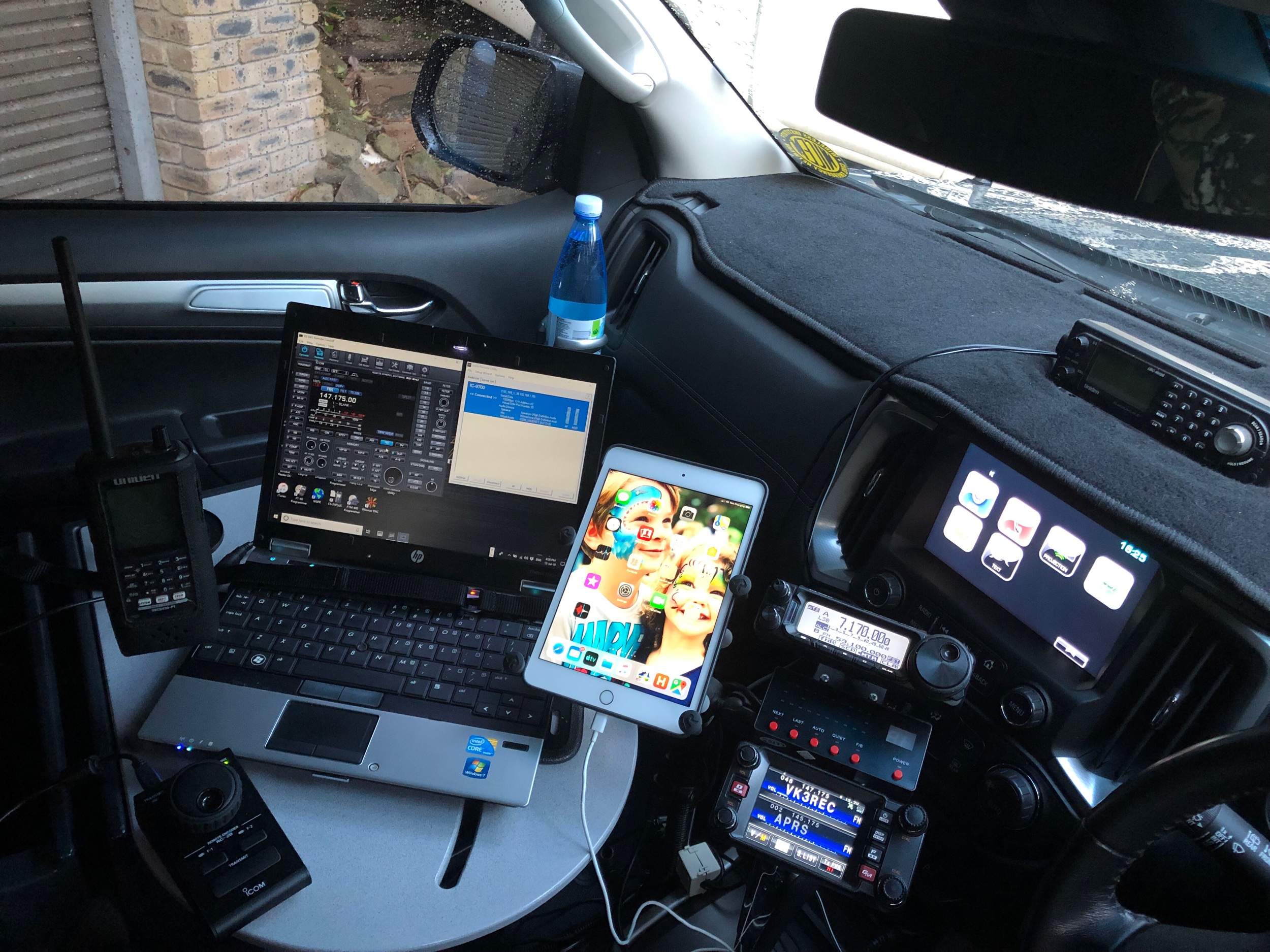 Overview of desk, laptop and radios