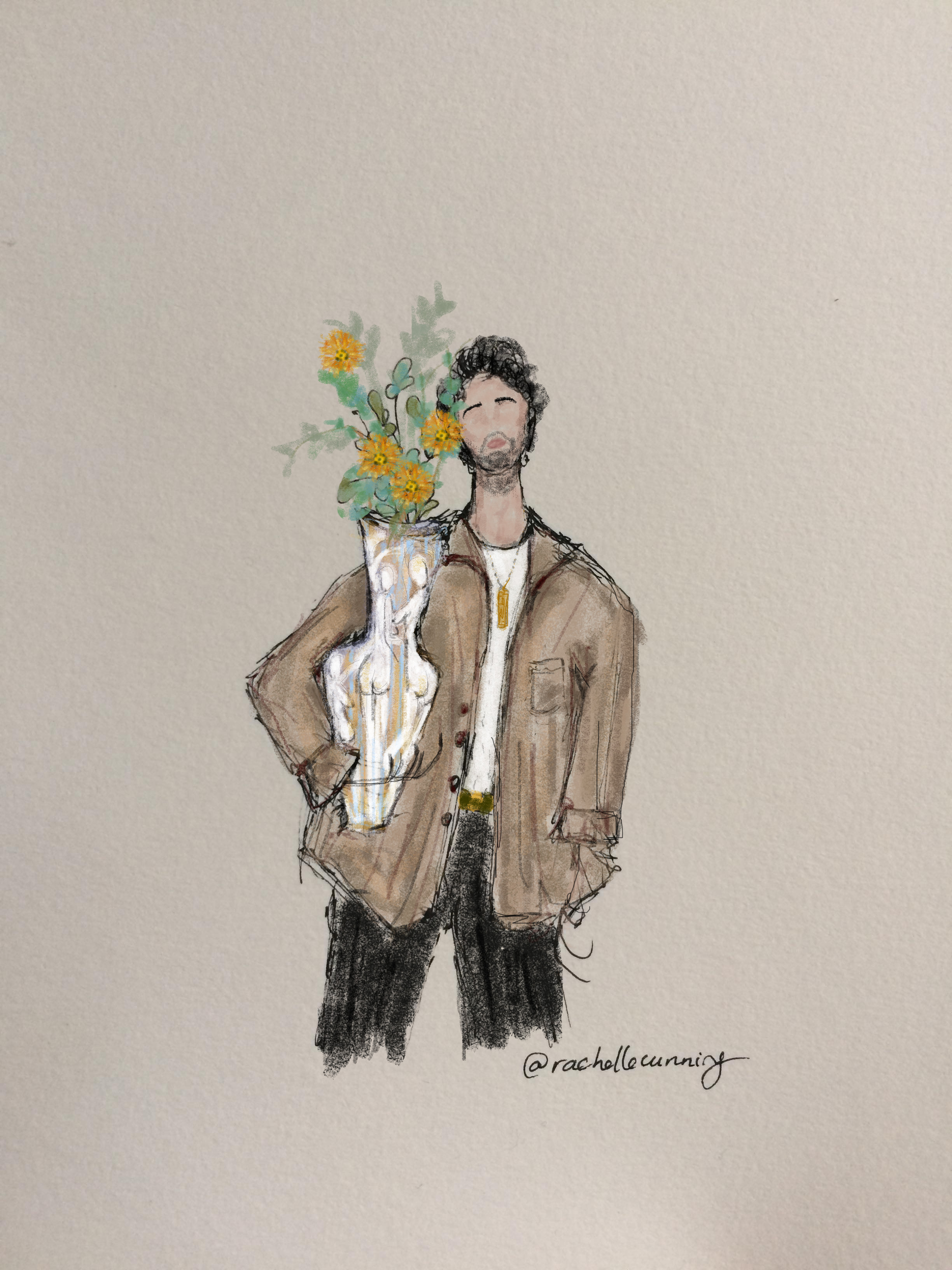 """Man with flowers"". September'18. Paris.FR  (print available)"