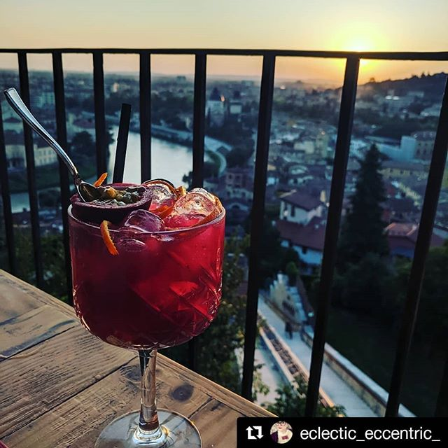 """""""I have taken more photos of this cocktail than I have of myself or my family."""" 📸 @eclectic_eccentric_ . . . #holidayphotos #verona #reteodorico #cocktailhour #sunsetcocktails #verona🇮🇹 #veronacity #cocktails🍹 #terracewithaview #terracegarden #restaurant #restaurants #drinkstagram #cocktailbar #cocktails #cocktails🍸 #barman #mixology #drinkup"""