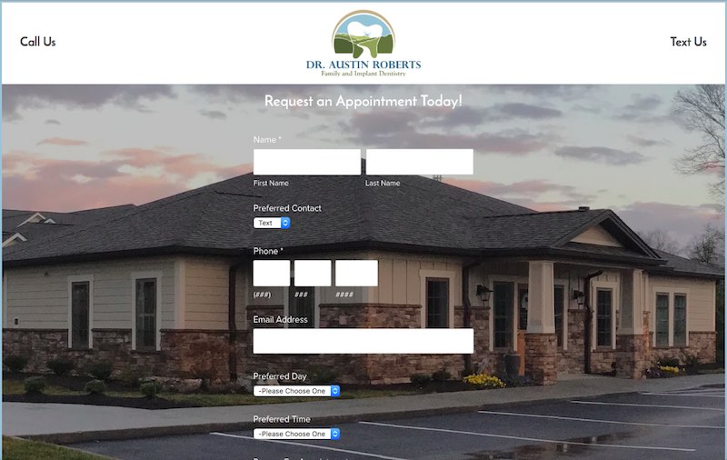 The screenshot of the web design work.