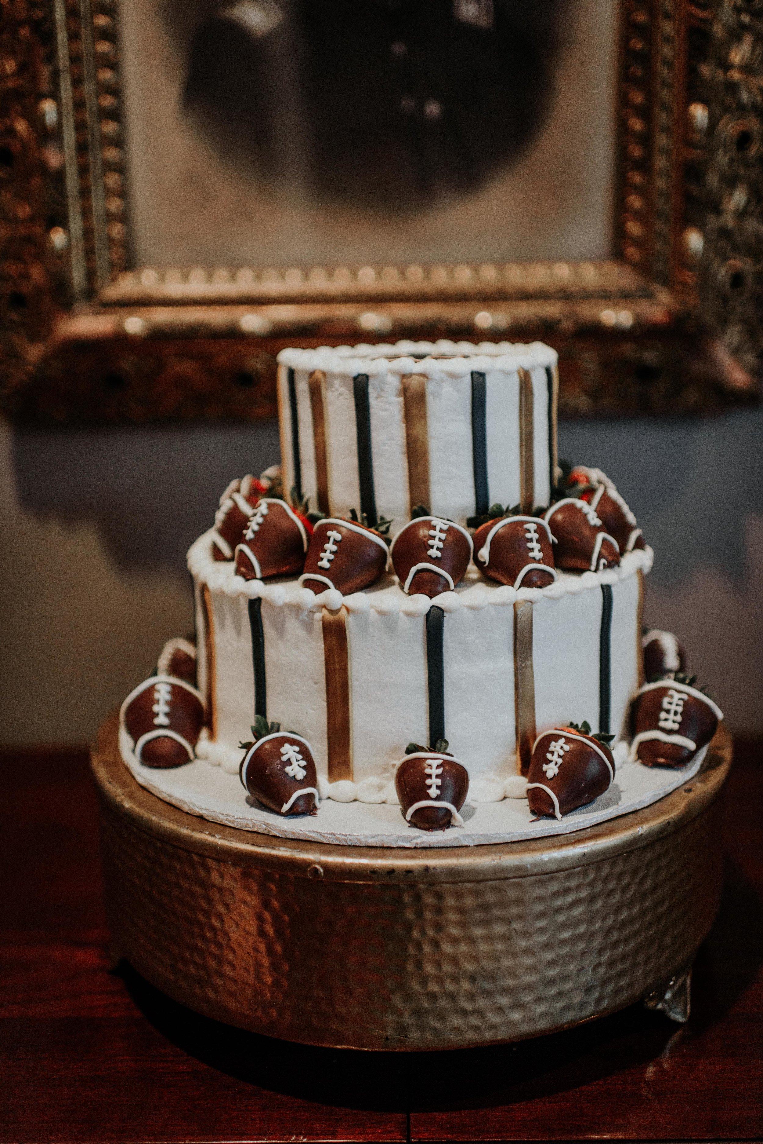 Southern Fete, Southern Wedding, Gambino's, Groom's Football cake, Hannah Mulligan Photography