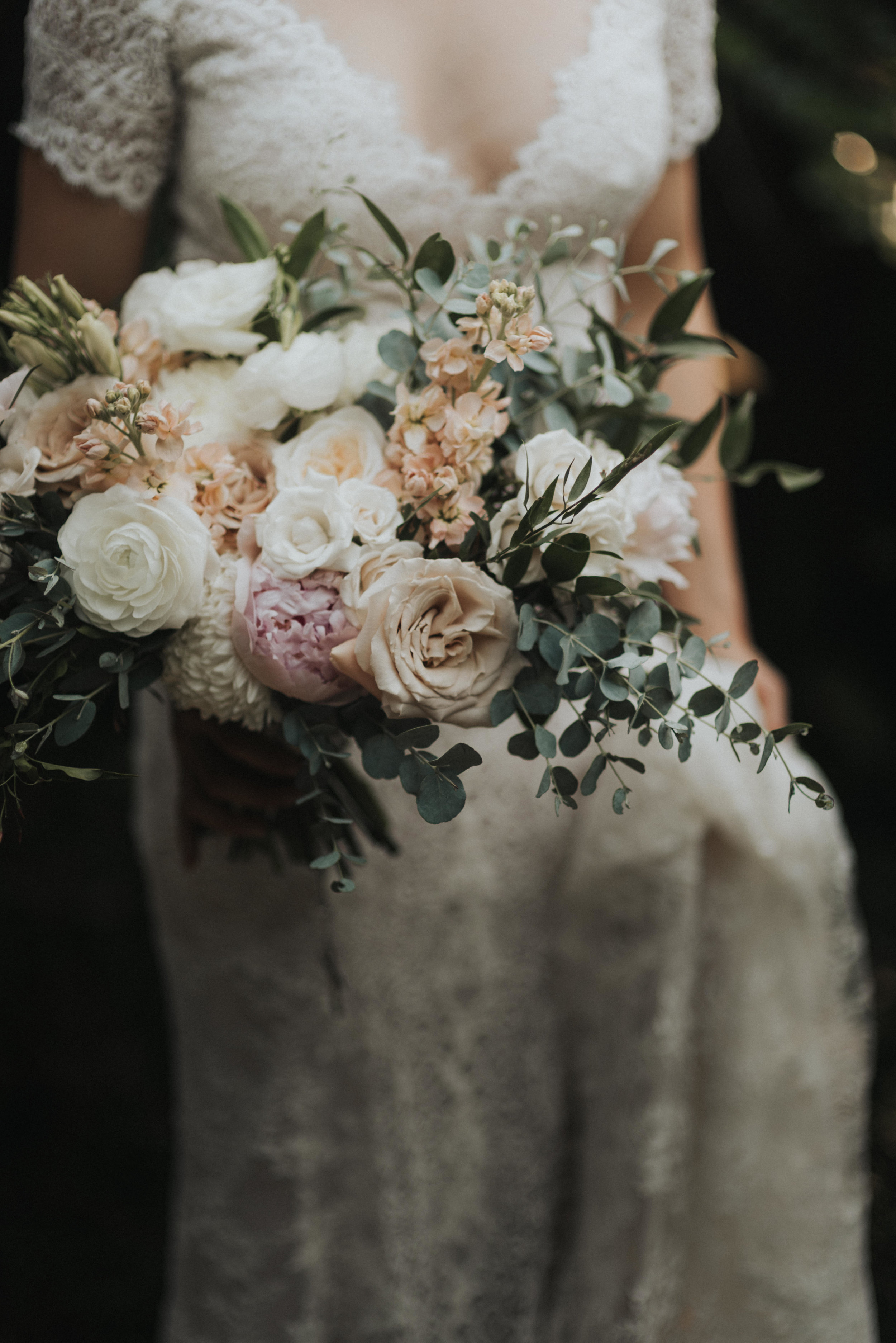 Southern Fete, Southern Wedding, Root Floral Design, White, Blush and Green Flower Bouquet