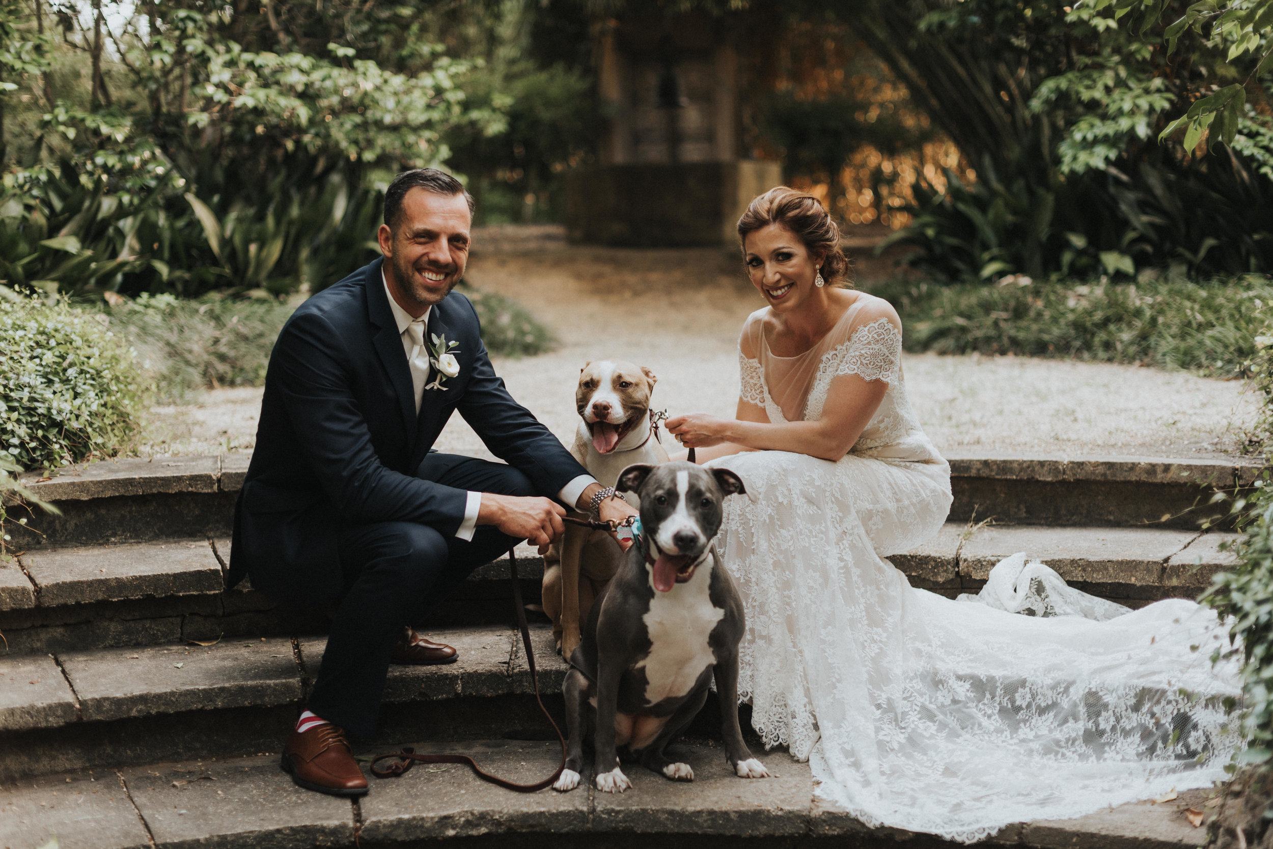 Southern Fete, Southern Wedding, Bride and Groom with their dogs, Erin and Geoffrey Photography