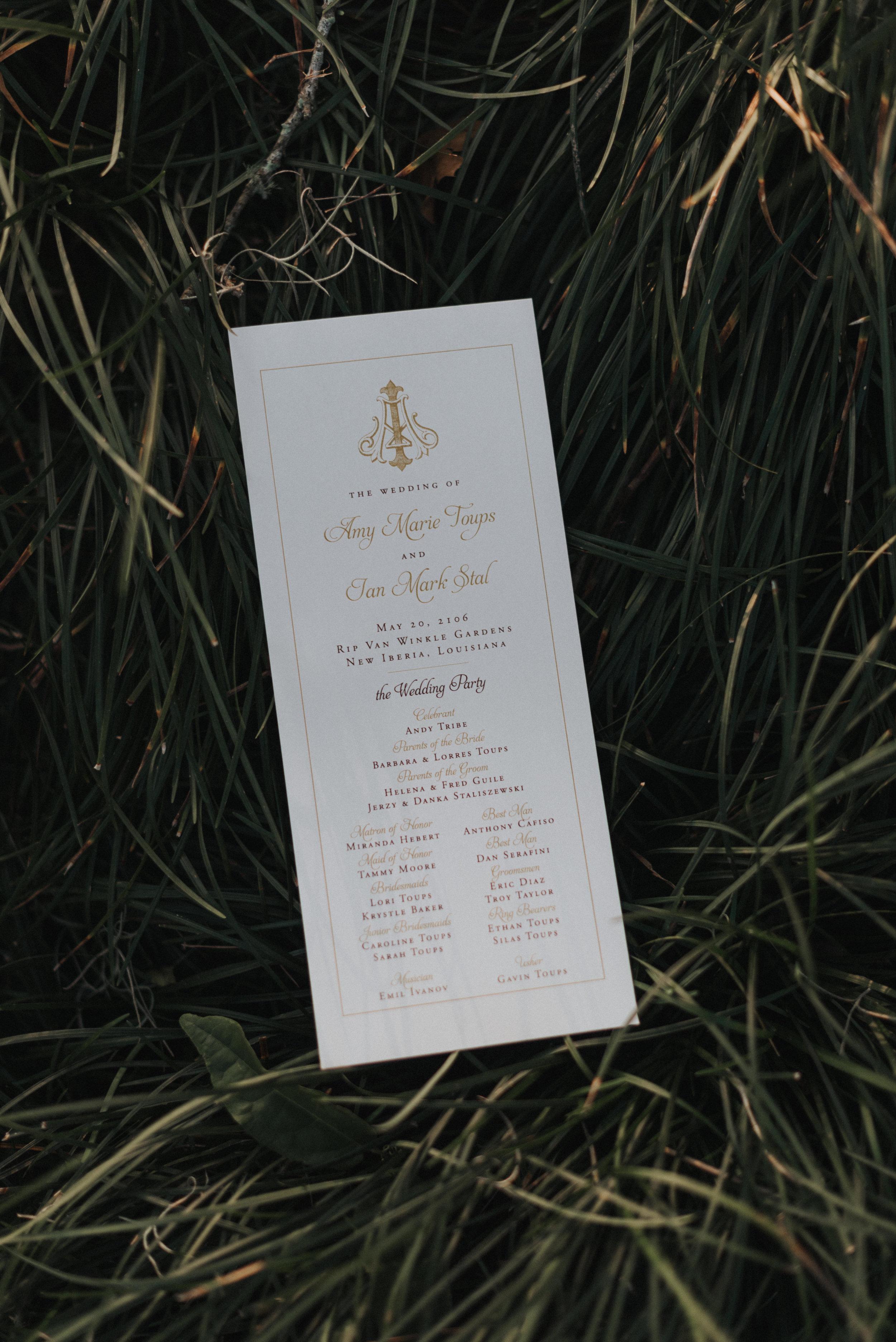 Southern Fete, Southern Wedding, Wedding Program, St. Blanc Photography