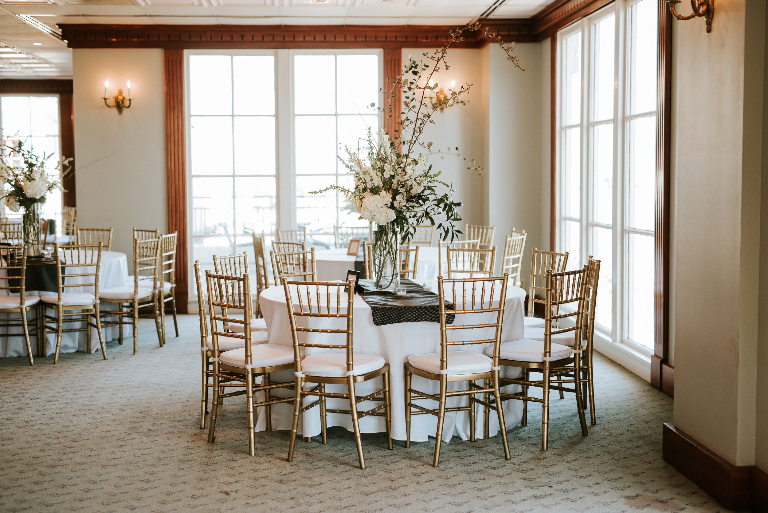Southern Fete, Southern Wedding, Reception, Riverview Room, White Floral bouquet