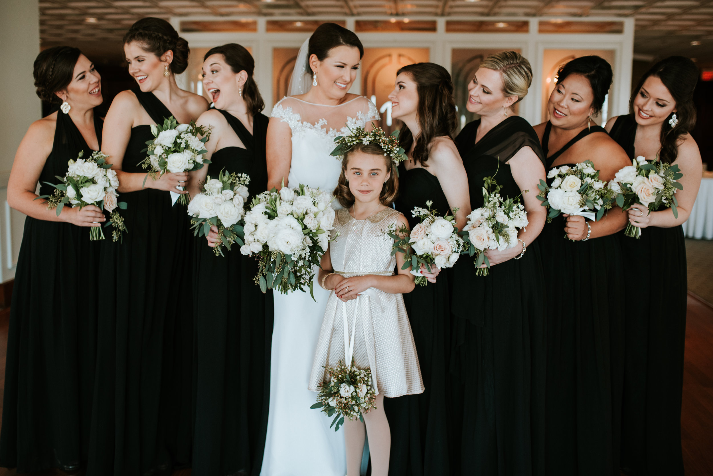Southern Fete, Southern Wedding, Bridal Party, White Floral Bouquet, Hannah Mulligan Photography